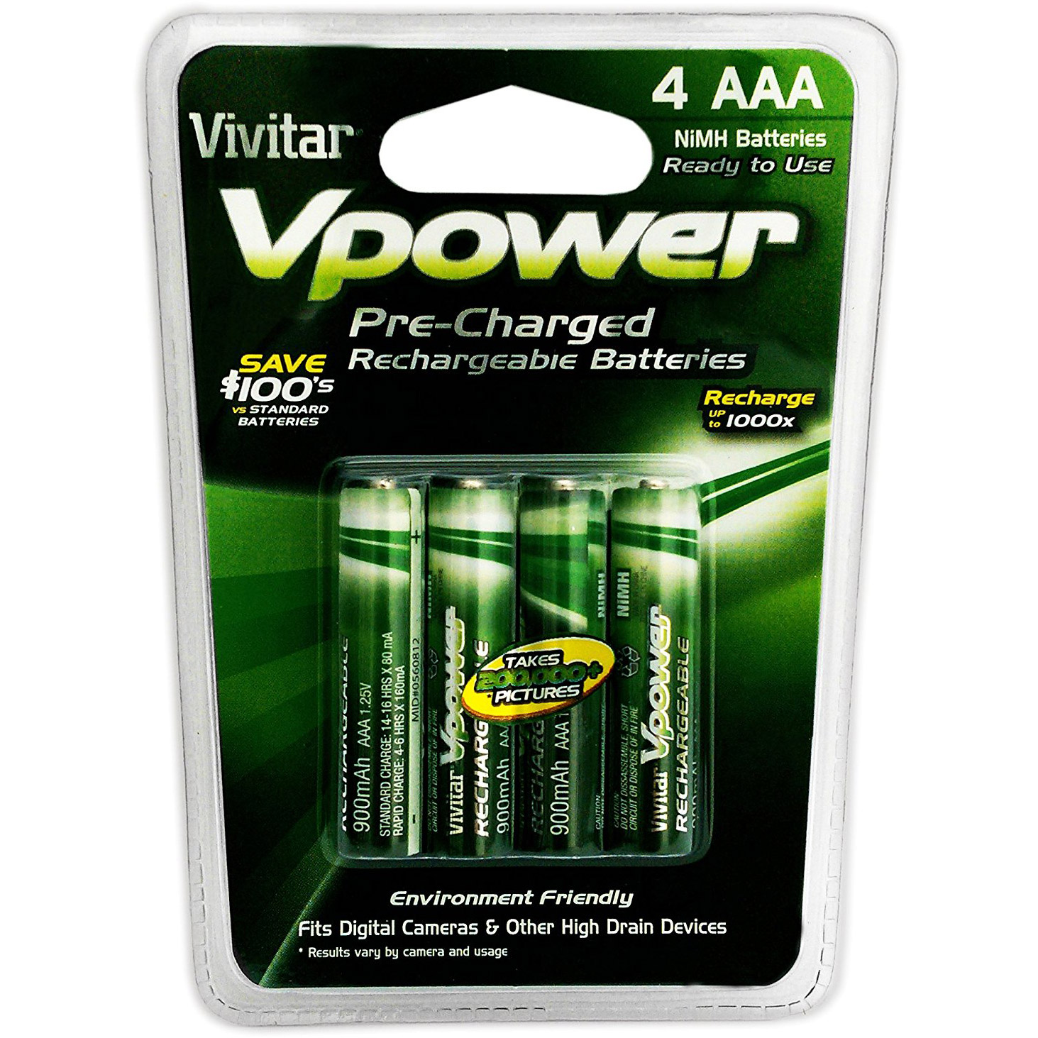 Vivitar 4pc 900 NiMH Pre-Charged Rechargeable AAA Batteries