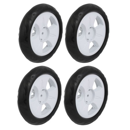 4pcs 135mm Dia Plastic Single Wheel  Pulley Rolling Roller White 6x22mm