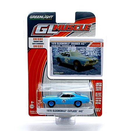 GL Muscle 1970 Oldsmobile Goodyear Grabber Cutlass 442 (Custom Blue) Series 14 2015 Greenlight Collectibles Limited Edition 1:64 Scale Die-Cast Vehicle & Collector Trading Card - image 1 of 2