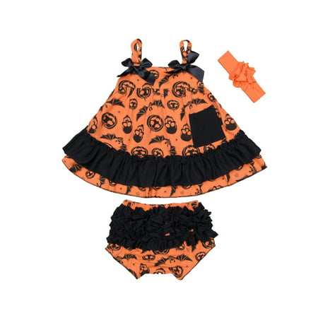StylesILove Baby Girl Swing Top Pumpkin Dress and Bloomers with Headband 3 pcs Halloween Costume Outfit (L/12-18 Months)