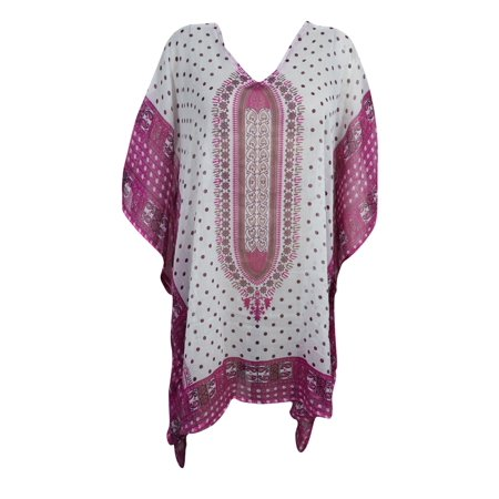 Mogul Sheer Sexy Short Caftan Dress Beach Bikini Cover Up Pink White Dashiki Print Summer Fashion Loose Kaftan One Size