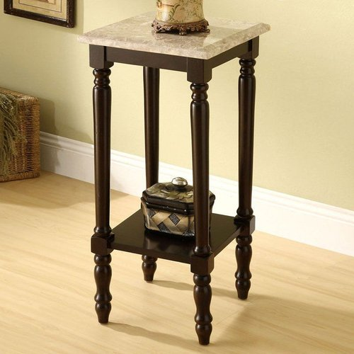 Furniture of America CM-AC787 Santa Clarita Square Marble Top Plant Stand by Furniture of America