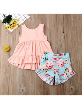 2PCS Child Kid Baby Girl Clothes Ruffle Tops+ Floral Pants Summer Outfits Set