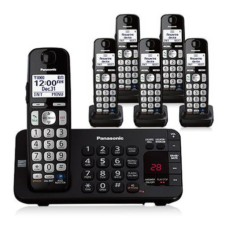 Panasonic KX-TGE246B DECT 6.0 Plus 1.9GHz 6 Handset Expandable Cordless Phone by
