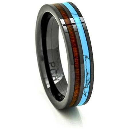 Mens Womens Koa Wood Wedding Band with Turquoise 6mm Flat Top Black Ceramic Size 6 to 15 (14) - Turquoise And Black Wedding