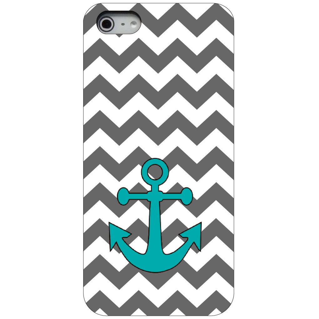 CUSTOM Black Hard Plastic Snap-On Case for Apple iPhone 5 / 5S / SE - Grey White Chevron Teal Anchor