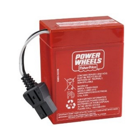 Power Wheels 6 Volt - Super 6 Battery Red - Black Connector