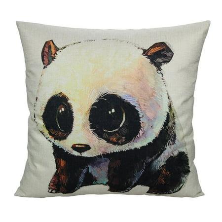 Tayyakoushi Decor Panda Throw Pillow Cover Cushion Pillowcase Home Decorative 18x18 Linen for (Prada Home)