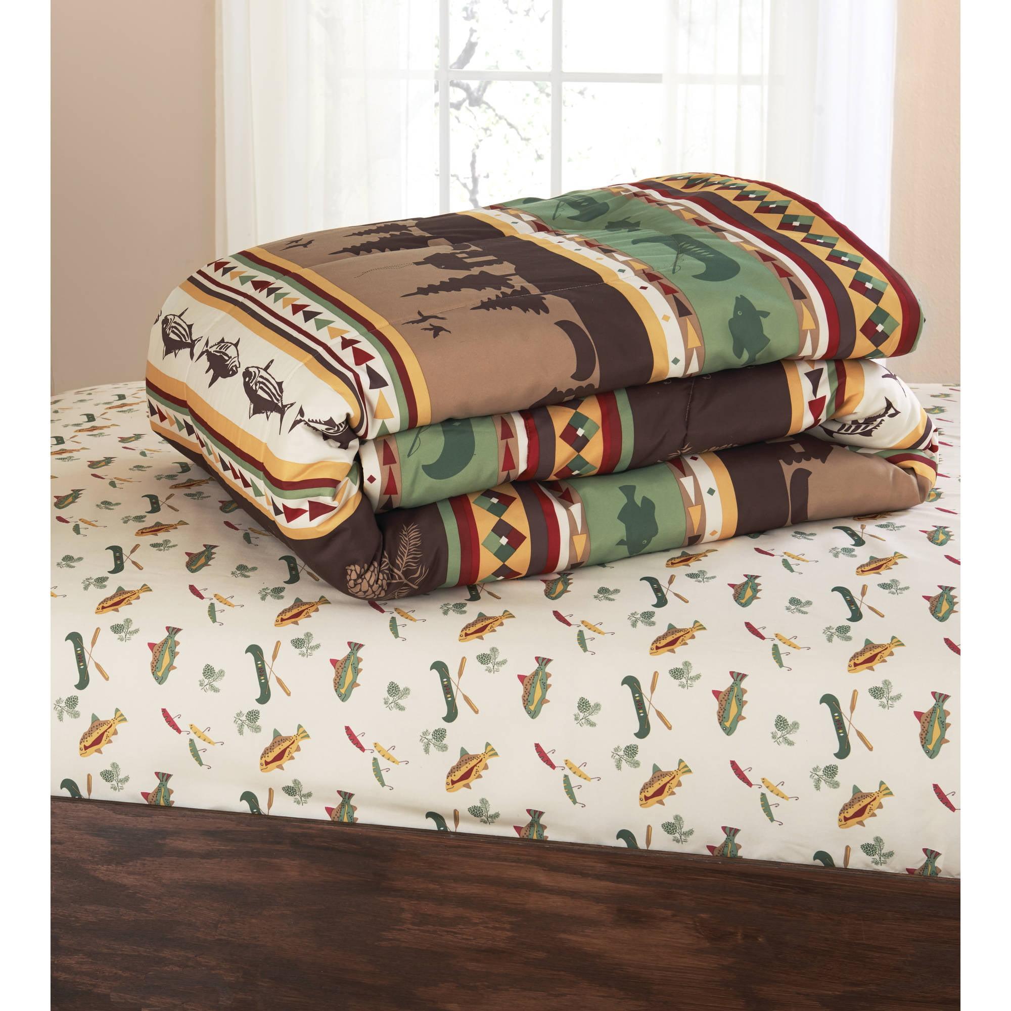 bedding set queen size fitted sheets comforter gone fishing cabin pattern bed ebay. Black Bedroom Furniture Sets. Home Design Ideas