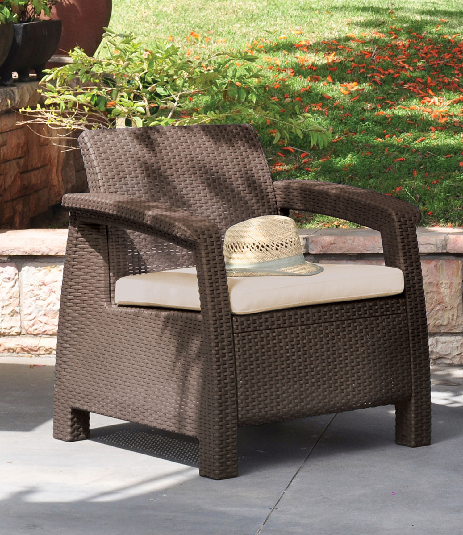 Keter Corfu Resin Armchair With Cushions, All Weather Plastic Patio  Furniture, Brown Rattan