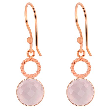 6.60 Cts Rose Quartz Gemstone Rose Gold Dangle Brass Earrings