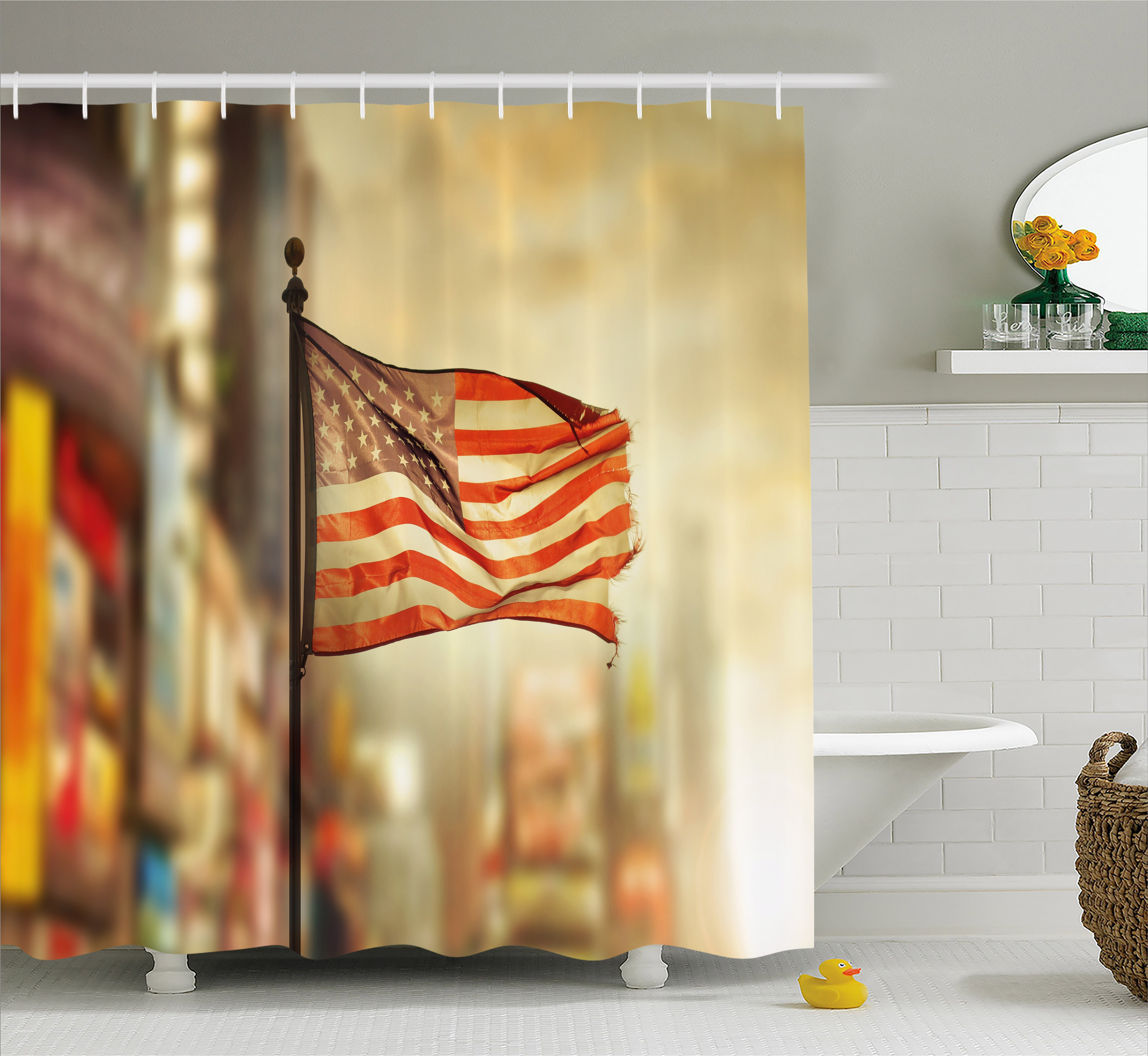 United States Shower Curtain, American Flag Waving in City National Independence Day Celebration Theme, Fabric Bathroom Set with Hooks, 69W X 75L Inches Long, Sepia Red Blue, by Ambesonne