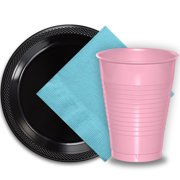 """50 Black Plastic Plates (9""""), 50 Pink Plastic Cups (12 oz.), and 50 Light Blue Paper Napkins, Dazzelling Colored Disposable Party Supplies Tableware Set for Fifty Guests."""