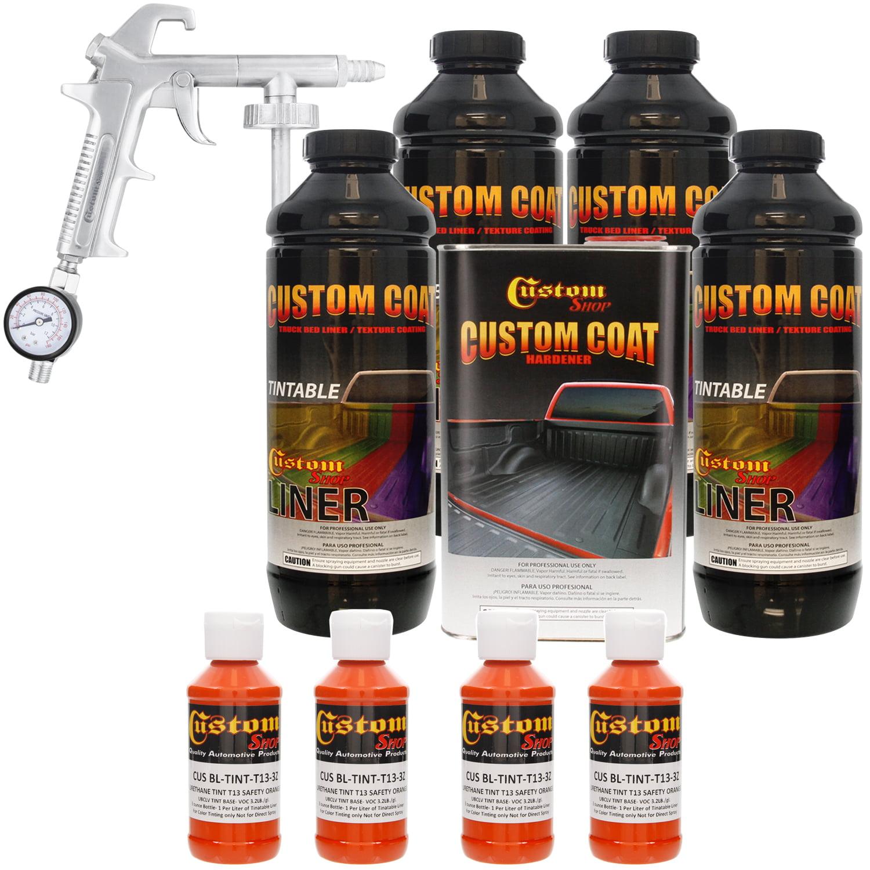 Bed Liner CUSTOM COAT SAFETY ORANGE 4-L Urethane Spray-On Truck Kit w/ Spray Gun