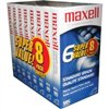 Maxell VHS Cassette Standard Grade T-120, 6 Hour - 8 Pack 8 New Factory Sealed/Shrink-wrapped Individual T-120 VHS Tapes