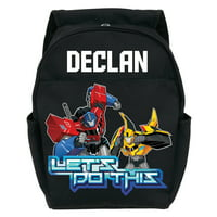 Personalized Toddler Black Backpack - Transformers Robots in Disguise Let's Do This