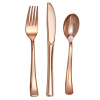 Host & Porter Rose Gold Plastic Cutlery, 300 Combo, 100 Plastic Forks, 100 Plastic Spoons, 100 Plastic Knives, Great for Weddings, Bridal Showers, and Baby Showers