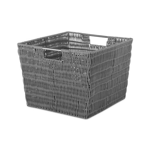 Whitmor 6500-1715-GREY Rattique Storage Tote, Gray, 13 x 15 x 9.8-In.