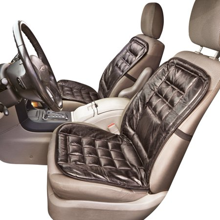 Stylish Comfortable Leather Elastic Strap Car Seat Cushion - Also Good for Office or Home, Black ()