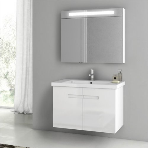 ACF by Nameeks ACF NY04-GW New York 32-in. Single Bathroom Vanity Set - Glossy White