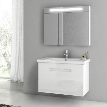 ACF by Nameeks ACF NY04-GW New York 32-in. Single Bathroom Vanity Set - Glossy White
