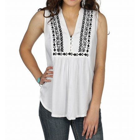 Black Womens Small Embroidered V-Neck Knit Top -