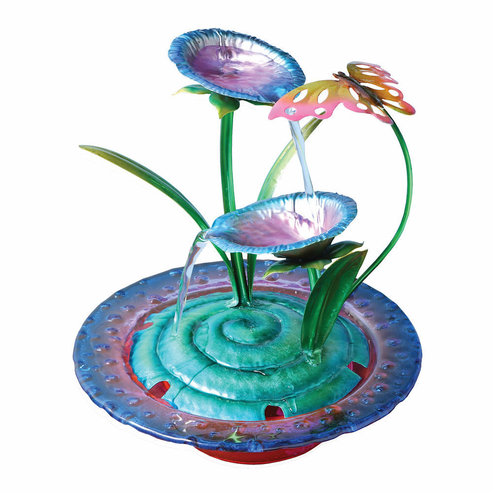 Click here to buy Purple Iris Glass and Metal Indoor Fountain with Butterfly Sculpture by TINGLE INDUSTRY LIMITED.