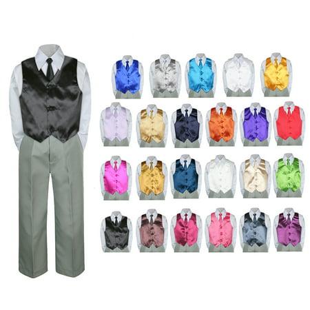 4PC Shirt Gray Pants Vest & Necktie Set Baby Boy Toddler Kid Formal Suit - Kids Grey Suits