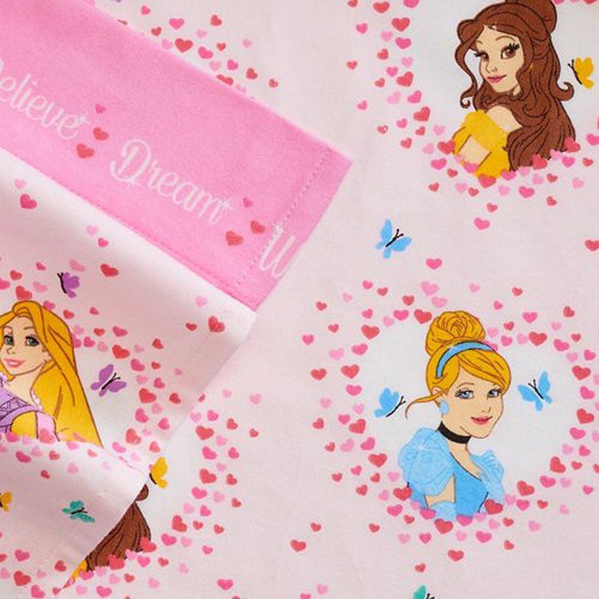 Disney Princess Cinderella Belle Flannel Sheet Set Full Bed Sheets ...