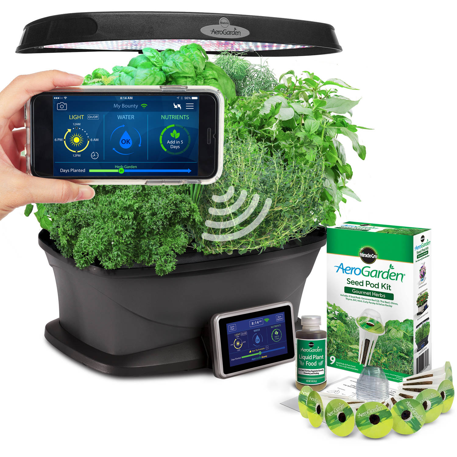 Miracle Gro AeroGarden Bounty Wi Fi with Gourmet Herb Seed Pod Kit