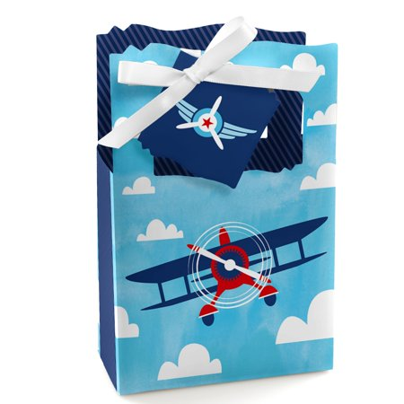 Taking Flight - Airplane - Vintage Plane Baby Shower or Birthday Party Favor Boxes - Set of 12