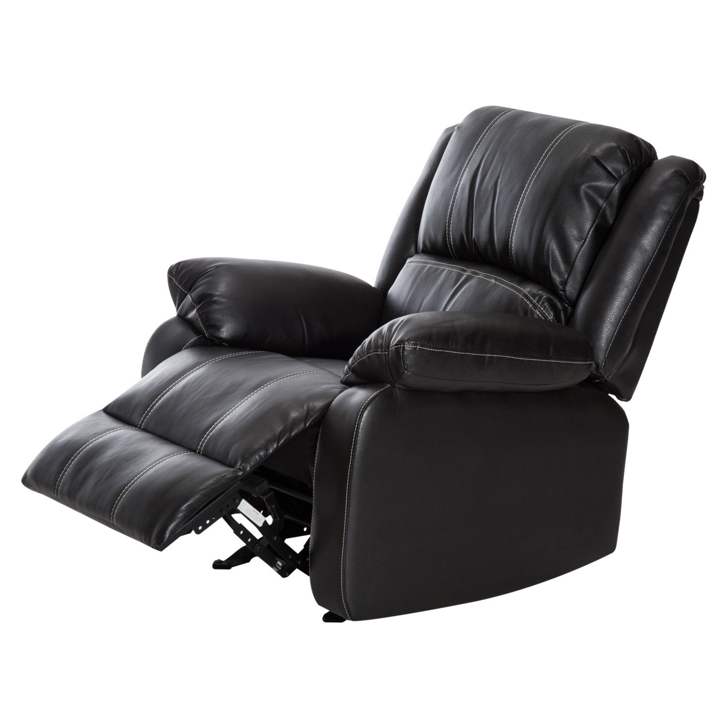 HomCom PU Leather Rocker Recliner Living Room Arm Chair - Black