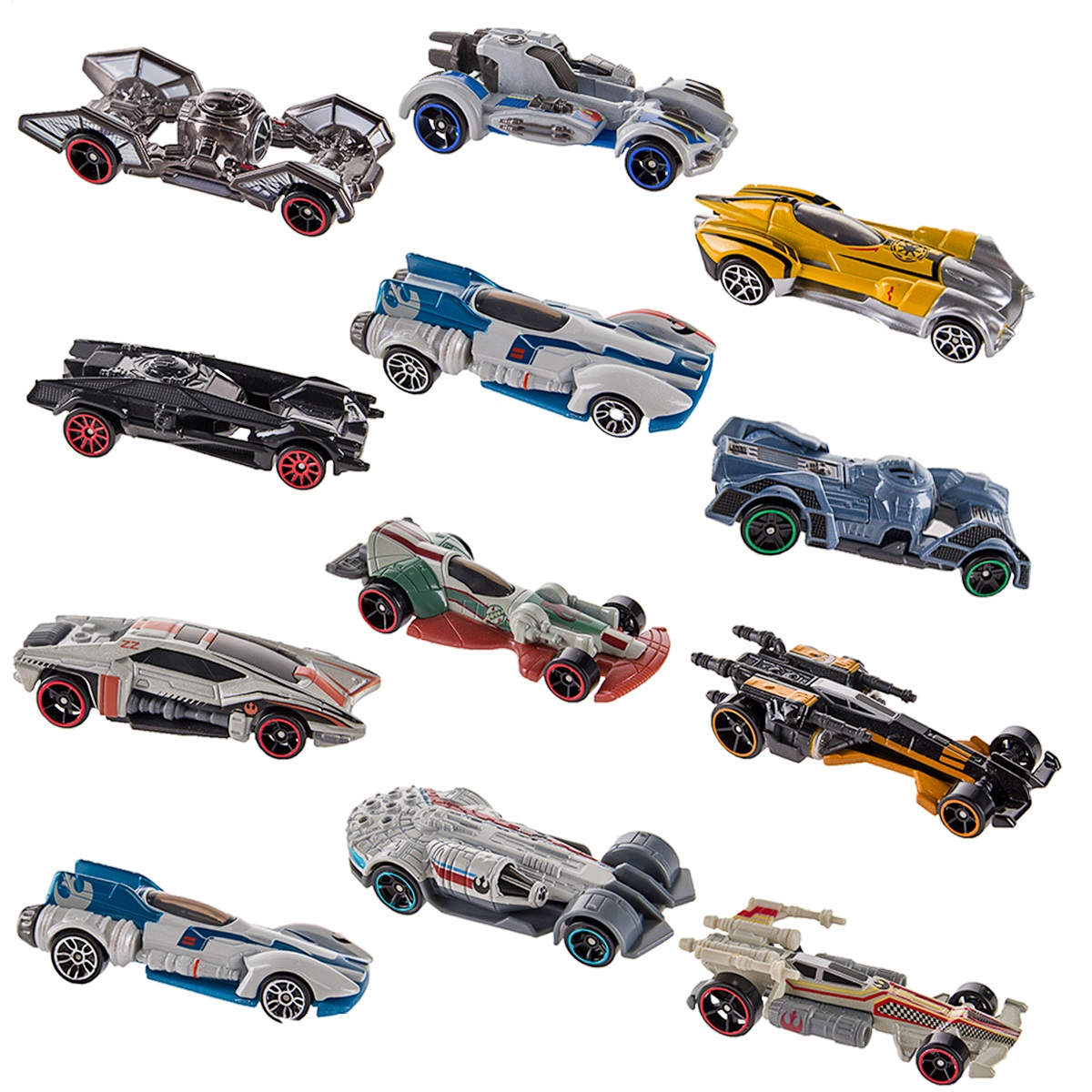 Hot Wheels (Set of 12) Disney Star Wars Carships Toys Set Starship Inspired Character Cars... by Hot Wheels