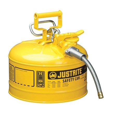 Justrite Laboratory Safety Cans - JUSTRITE 7225220 2-1/2 gal. Yellow Galvanized Steel Type II Safety Can, For