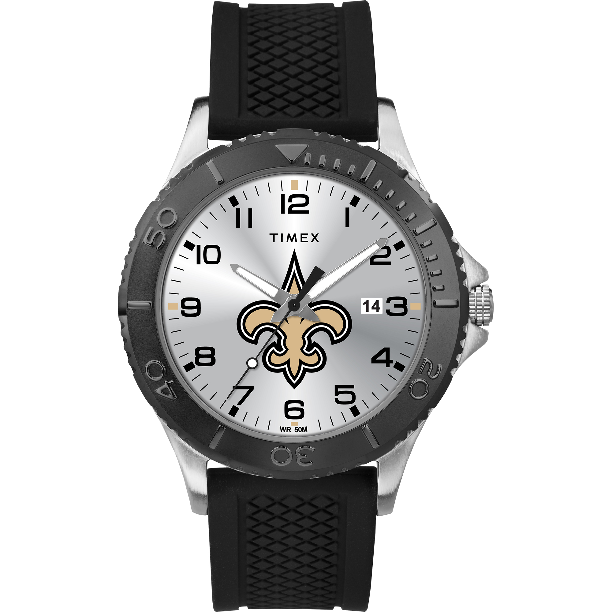 Timex - NFL Tribute Collection Gamer Black Men's Watch, New Orleans Saints