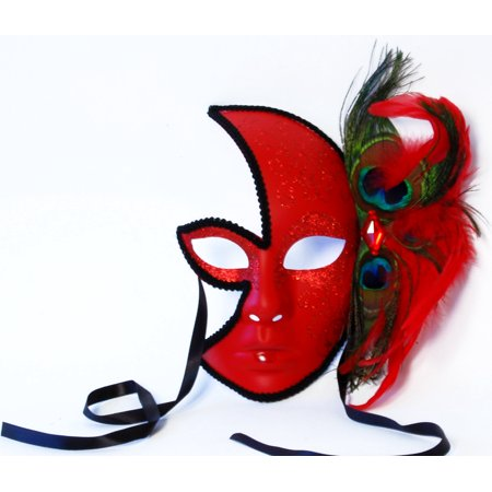 Midnight Flash Costume Mask With Feather: Red - Red Feather Mask