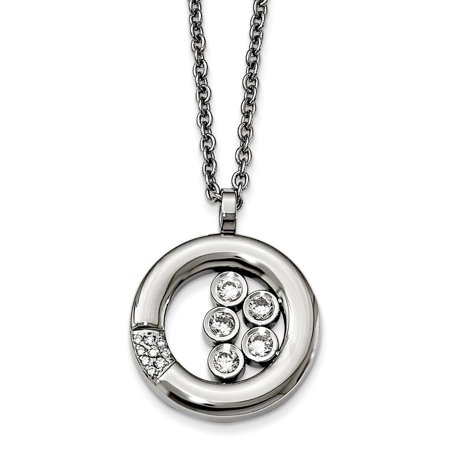21.5 Inch Pendant - Stainless Steel Polished Circle Cubic Zirconia Necklace - 21.5 Inch
