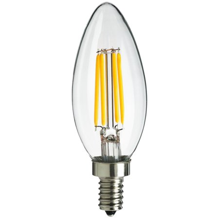 Savewize Energy Saving 4-Watt LED Filament Chandelier Light Bulb - Dimmable - Soft White 2700K - Torpedo Tip - Exact Equivalent to Standard 40W Incandescent Chandelier Bulb