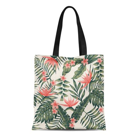 NUDECOR Canvas Tote Bag Beach Cheerful of Tropical Dark Green Leaves Palm Trees Durable Reusable Shopping Shoulder Grocery Bag - image 1 de 1