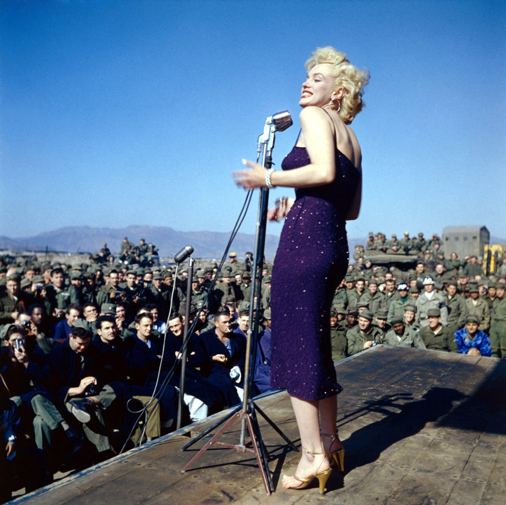 Laminated Poster Marilyn Monroe Performing For The Troops Color Uso Us Military S Poster Print 24 x 36