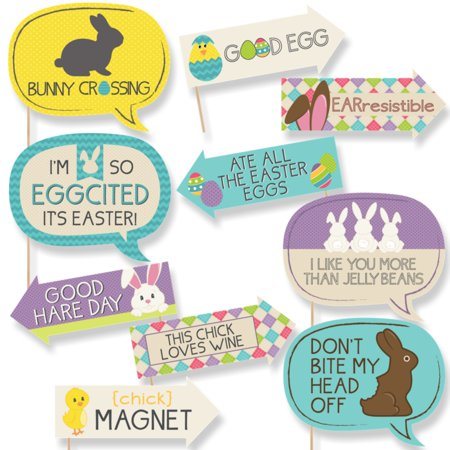 Funny Hippity Hoppity - Easter Party Photo Booth Props Kit - 10 - Easter Photo
