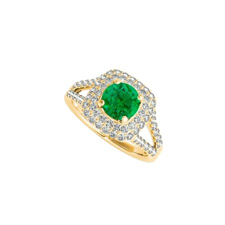 Design Shank Ring - Split Shank Design Prong Set Emerald and CZ Ring