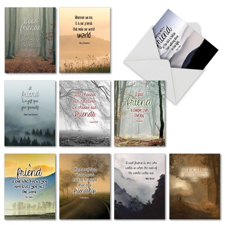 'M6618TYG FRIENDLY WORDS' 10 Assorted Thank You Note Cards Featuring Inspirational Quotes About Friendship Paired With Beautiful and Serene Landscape Images, with Envelopes by The Best Card Company](Halloween Party Thank You Quotes)