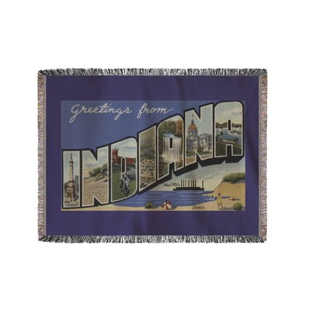 Greetings From Indiana  Steel Mills   Sand Dunes   60X80 Woven Chenille Yarn Blanket
