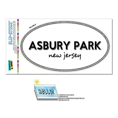 Asbury Park, NJ - New Jersey - Black and White - City State - Oval Laminated Sticker - Party City Nj
