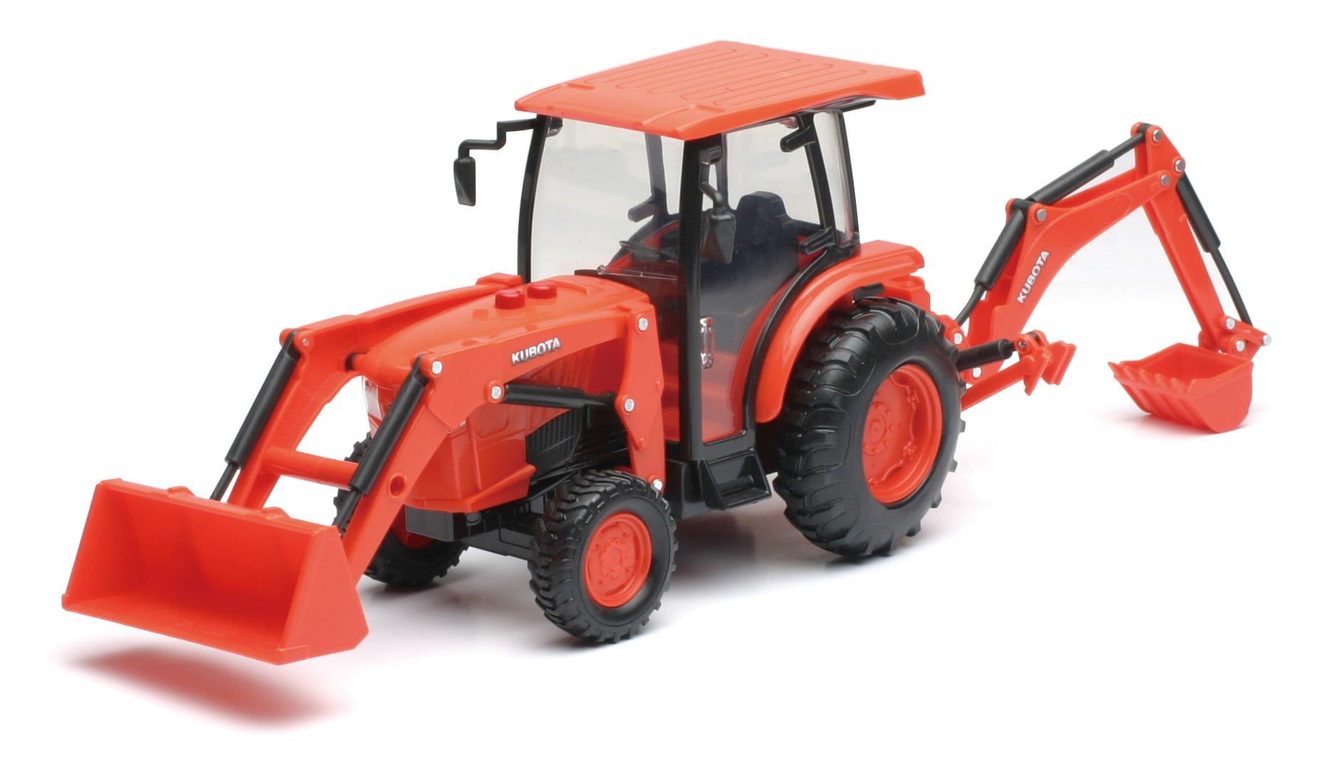 B O 1:18 Kubota Farm Tractor W Loader And Backhoe(L&S) by New-ray Toys