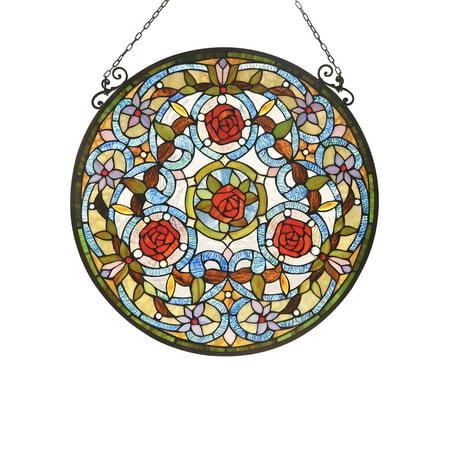 CHLOE Lighting AMARYLLIS Floral Tiffany-glass Window Panel 24