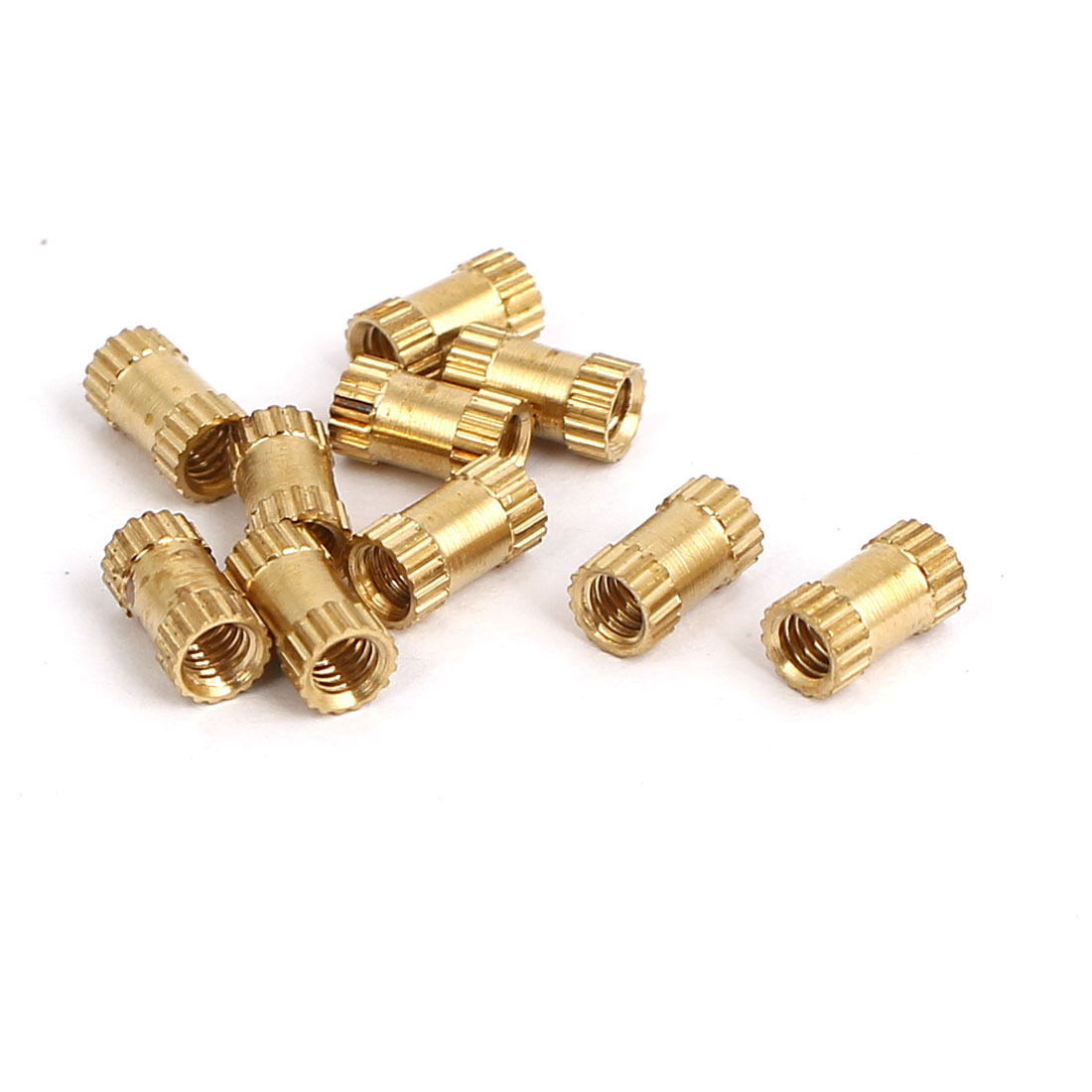 Unique Bargains M2.5x6mmx3.5mm Female Thread Brass Knurled Insert Embedded Nuts Gold Tone 10pcs