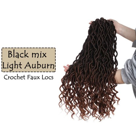 S-noilite Wavy Faux Locs Braids 20Inch Real Faux Locs Crochet Hair with Curly Ends Goddess Crochet Synthetic Braiding Extensions Black mix