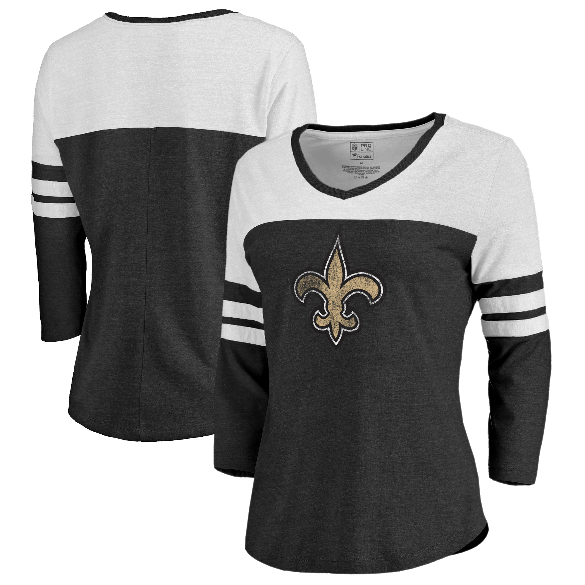 New Orleans Saints NFL Pro Line by Fanatics Branded Women's Distressed Primary Logo Three-Quarter Sleeve Raglan Tri-Blend T-Shirt - Black